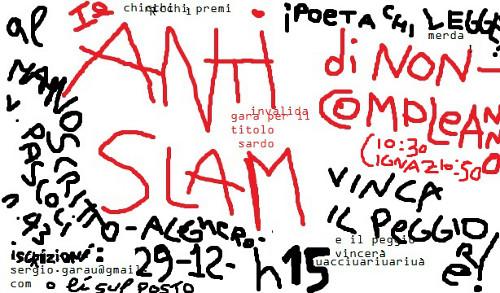 Locandina della Festa di non compleanno Anti-Slam.